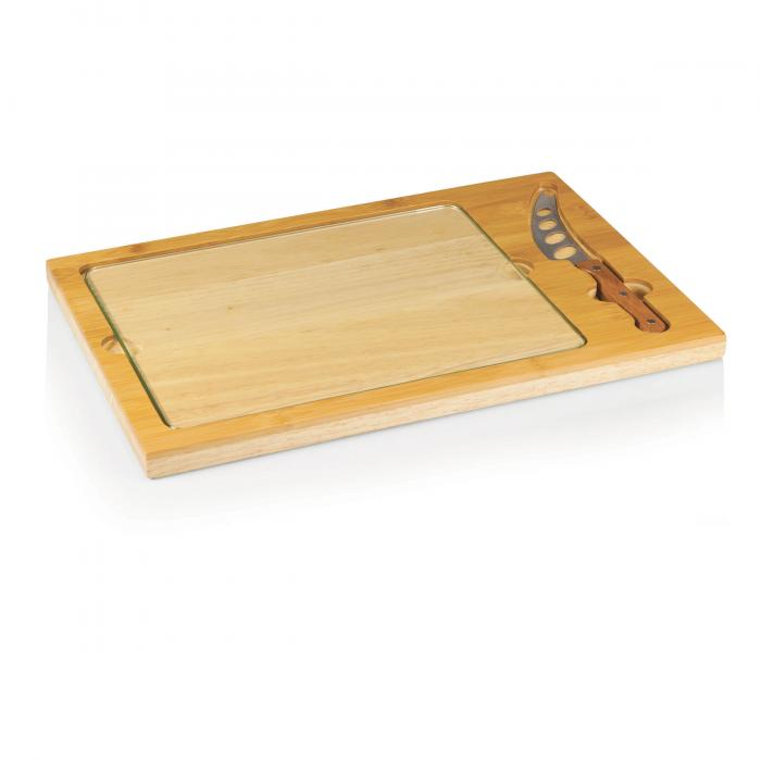 Picnic Time Icon Natural Wood Cutting Board w/ Glass Tray & Cheese Knife