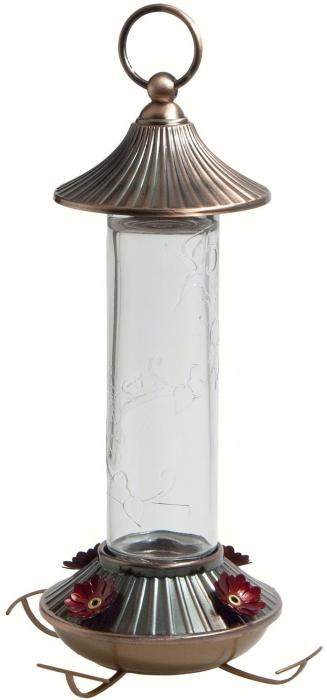 Woodlink Audubon Series 14 Ounce Embossed Glass Hummingbird Bird Feeder