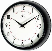 Infinity Retro Round Metal Wall Clock - Black