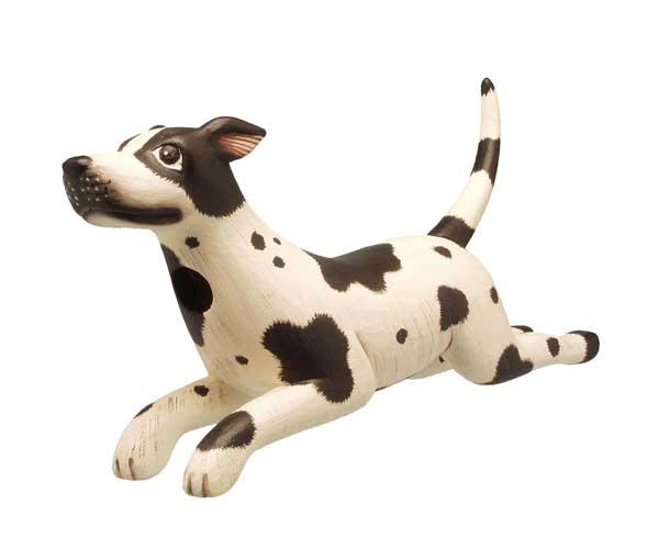 Bobbo Dog Leaping White w/ Black Spots Birdhouse