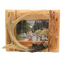 Rivers Edge Products Fir Root Deer Antler Picture Frame