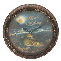 Walleye Metal Clock 15""