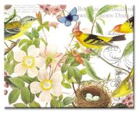 Counter Art Botanical Birds Glass Cutting Board 12 x 15