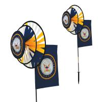 In The Breeze U.S. Navy Dual Spinner Wheels with Flag