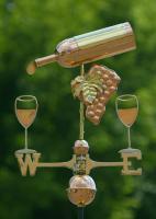Good Directions Wine Bottle Weathervane, Polished Copper + FRT