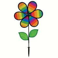 In The Breeze 12 inch Rainbow Stripe Flower Spinner with Leaves