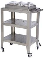 BroilKing Triple Buffet Warming Cart with Clear Individual Lids