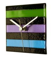 Square Multi-Color Glass Wall Clock - Cool Colors