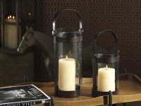 Zodax Barclay Butera Equestrian Collection Wrought Iron and Glass Lantern, Tall