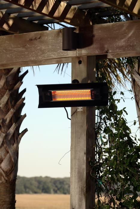 Fire Sense Patented 1500 Watt Black Steel Wall Mounted Infrared Patio Heater. Aluminum Reflector