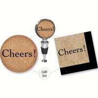 Evergreen Enterprises Cheers Cork It Up! Gift Set Includes Wine Stopper, Coaster, Napkins