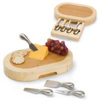 Picnic Time Formaggio Oval Two Tone Cutting Board with Cheese Tools