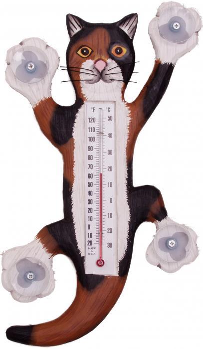 Songbird Essentials Climbing Calico Cat Small Window Thermometer