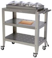 BroilKing Family Size 4-Pan Buffet Warming Cart with Clear Individual Lids