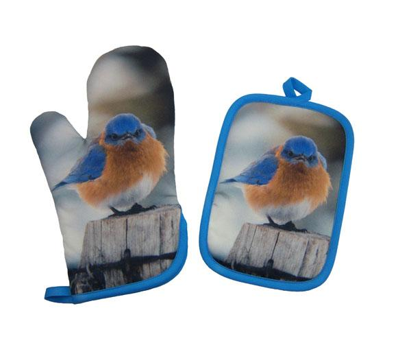 Songbird Essentials Potholder & Oven Mitt Set Mad Bluebird