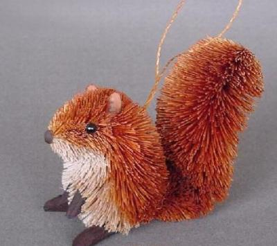 Brushart Squirrel Red Ornament