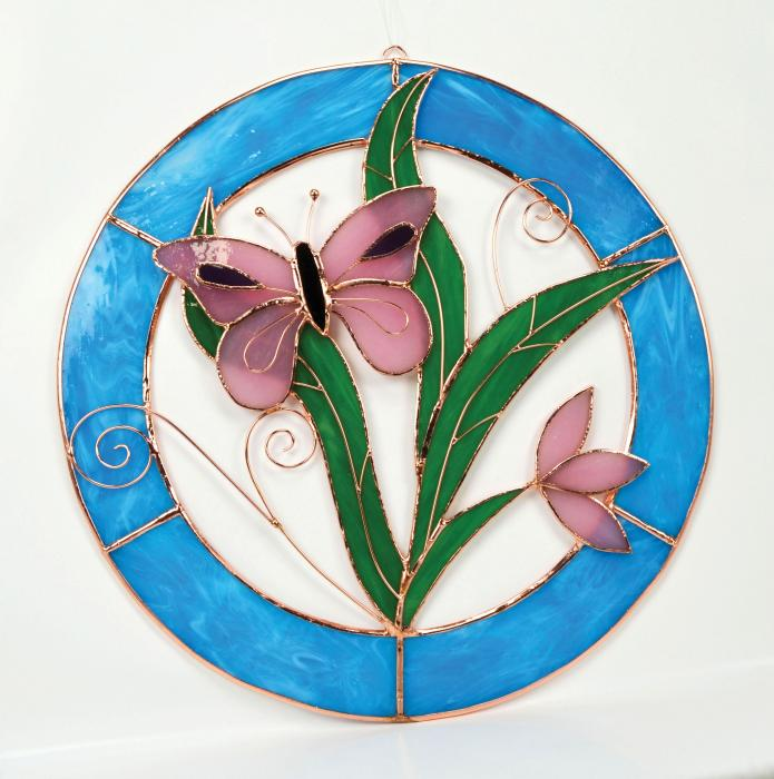 Gift Essentials Large Pink Butterfly Circle Window Panel