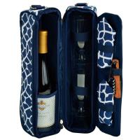 Picnic at Ascot - Deluxe Insulated Wine Tote with 2 Wine Glasses, Napkins and Corkscrew - Trellis Blue