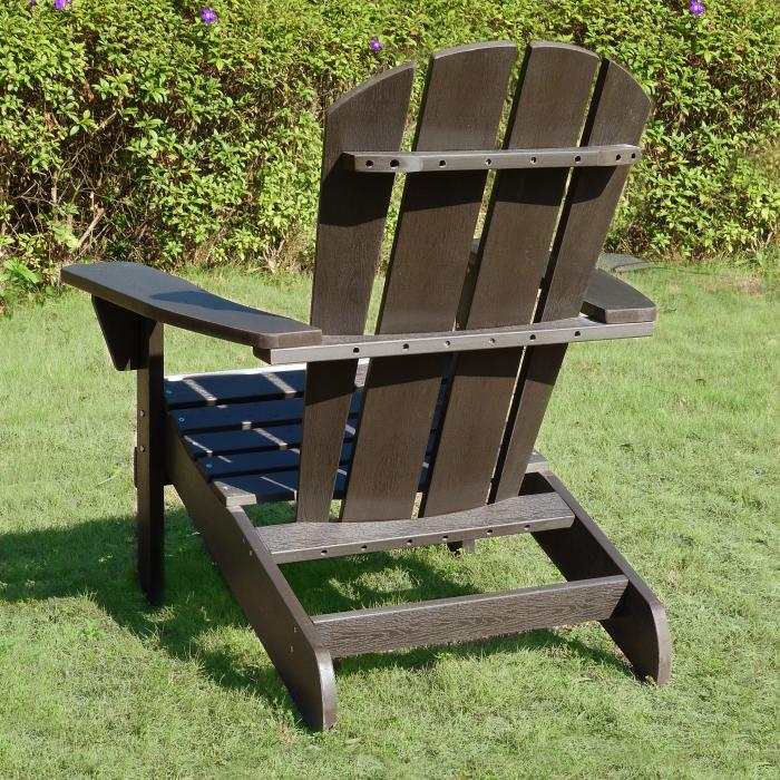Faux Wood Relaxed Adirondack Chair, Espresso