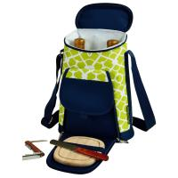 Picnic at Ascot Stylish 2 Bottle Insulated Wine Tote Bag with Cheese Board, Knife and Corkscrew - Trellis Green
