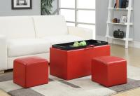 Designs4Comfort Sheridan Storage Bench w/ 2 Side Ottomans, Red