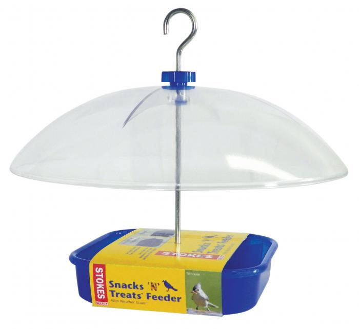 Hiatt Manufacturing Snacks N Treat Covered Bird Feeder, Blue