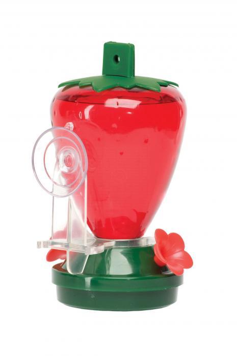 Artline 12 Oz Strawberry Hummingbird Window Bird Feeder