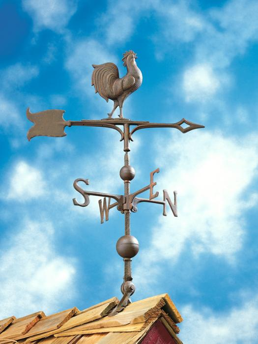 "30"" Full-Bodied Rooster Weathervane - Verdigris"