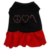 Peace Love Candy Cane Rhinestone Dog Dress - Black with Red/XXX Large