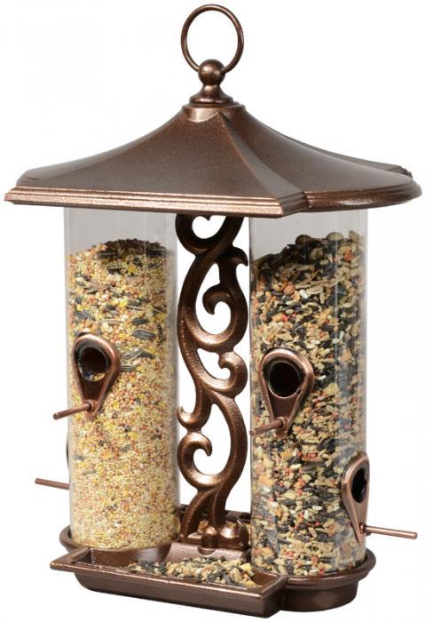 Whitehall Twin Tube Bird Feeder - Antique Copper