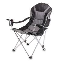 Picnic Time Reclining Camp Chair, Black and Gray
