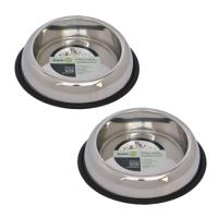 2 Pack Heavy Weight Non-Skid Easy Feed High Back Pet Bowl for Dog or Cat - 16 oz - 2 cup
