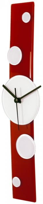 Red Curved Glass Clock with White Dots