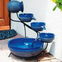 Smart Solar Blueberry Ceramic Solar Cascade with Blue Rustic Finish
