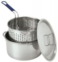Bayou Classic 14 Quart Stainless Deep Fryer with Perforated Basket