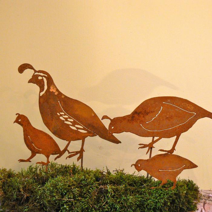 Elegant Garden Design CA Quail Family Stake Set Bird Silhouette