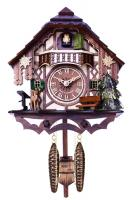 Musical Cuckoo Clock Cottage with Deer, Water Pump, and Tree- 10 Inches Tall