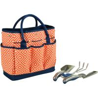 Picnic at Ascot Gardening Tote with 3 Tools - Orange/Navy
