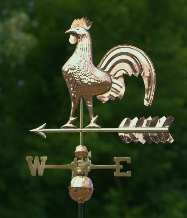 Good Directions Rooster Weathervane, Polished Copper + FRT