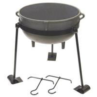 Bayou Classic 30-Gallon Cast Iron Jambalaya Pot with Tripod Stand and 2 Lift Hooks
