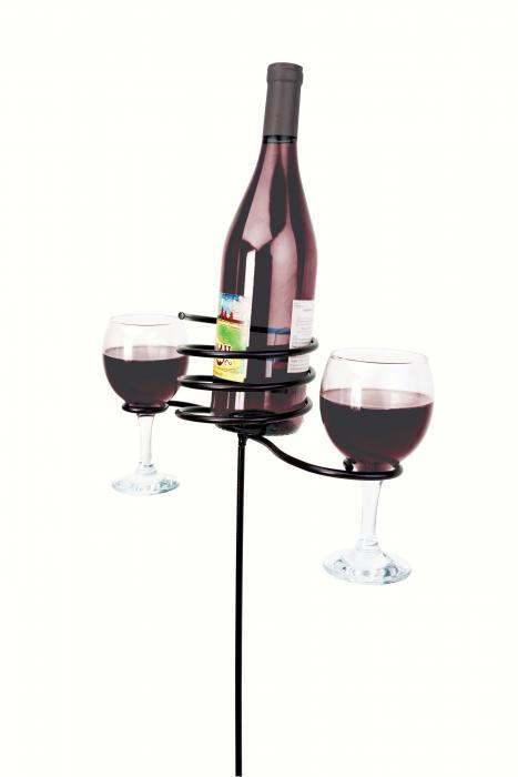 Panacea 24 inch Wine Bottle & Glasses Stake, Black