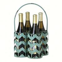 Evergreen Enterprises Blue Cheveron Metal 4 Bottle Wine Holder