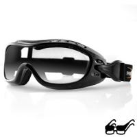 Bobster Action Eyewear Night Hawk OTG Goggles, Black Frame, Anti-Fog Clear Lens