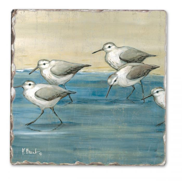 Counter Art Sandpipers on the Beach Single Tumbled Tile Coaster