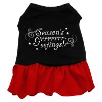 Seasons Greetings Dog Dress - Black with Red/XX Large