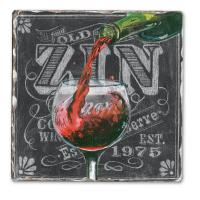 Counter Art Chalkboard Wine-Zin Single Tumbled Tile Coaster