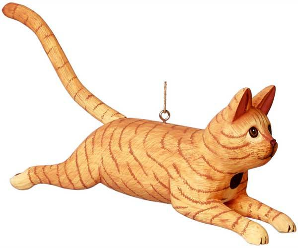 Bobbo Cat Orange Striped Leaping Birdhouse