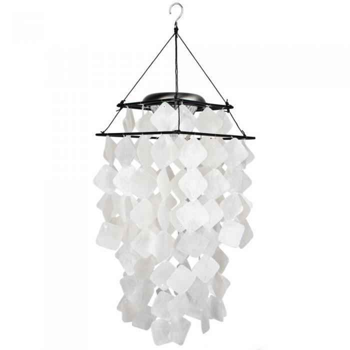 Woodstock Chimes Capiz Solar Chime - White Diamonds