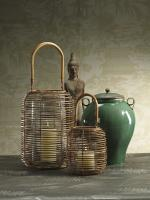 Zodax Chandara Wicker Lantern with Glass Insert