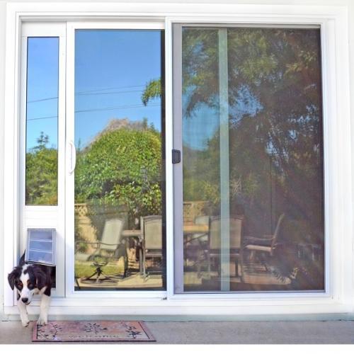 "Endura Flap Pet Door, Thermo Panel 3e, Medium Flap, 8""w x 15""h - 93.25-96.25"" Tall, White Frame"